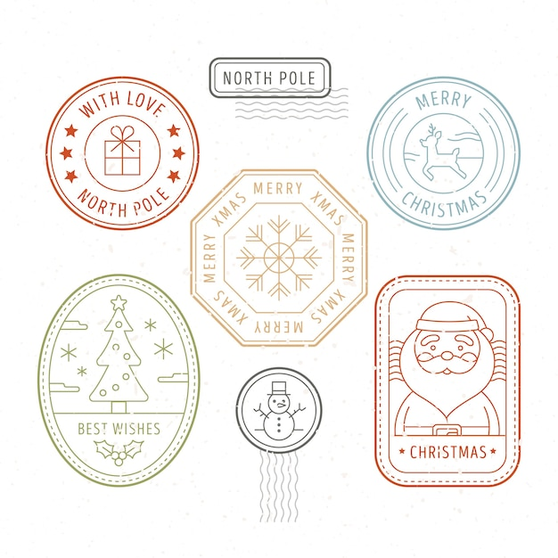 Collection de timbres de noël design plat Vecteur gratuit