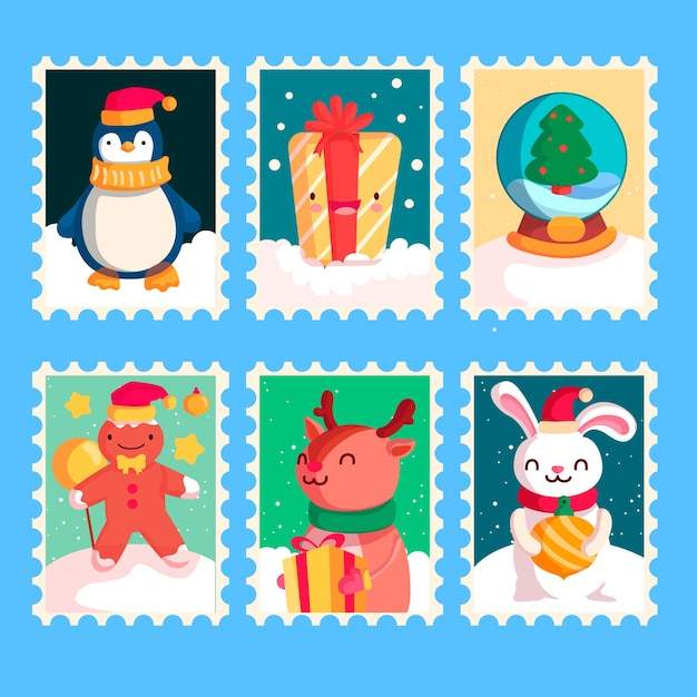Collection de timbres de noël design plat Vecteur gratuit