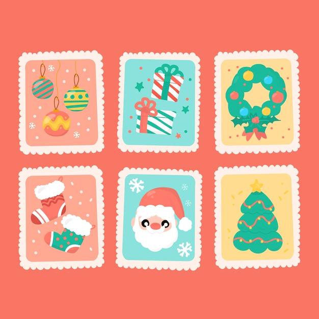 Collection de timbres de noël dessinés à la main Vecteur gratuit