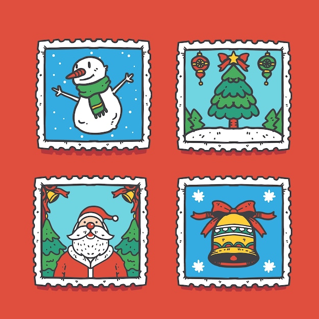 Collection De Timbres De Noël Dessinés à La Main Vecteur gratuit