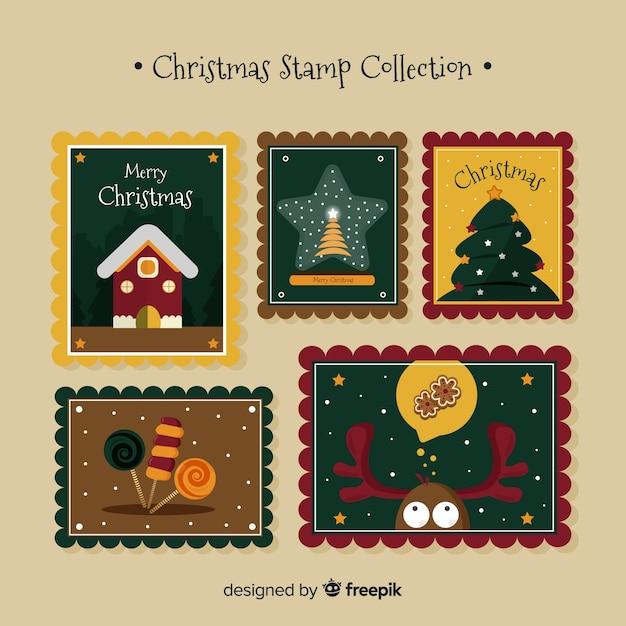 Collection de timbres de noël vintage Vecteur gratuit