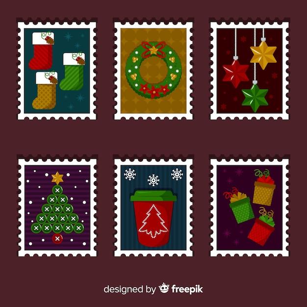 Collection de timbres de noël Vecteur gratuit