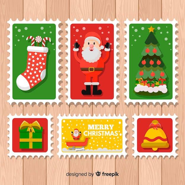 Collection de timbres de noël Vecteur gratuit