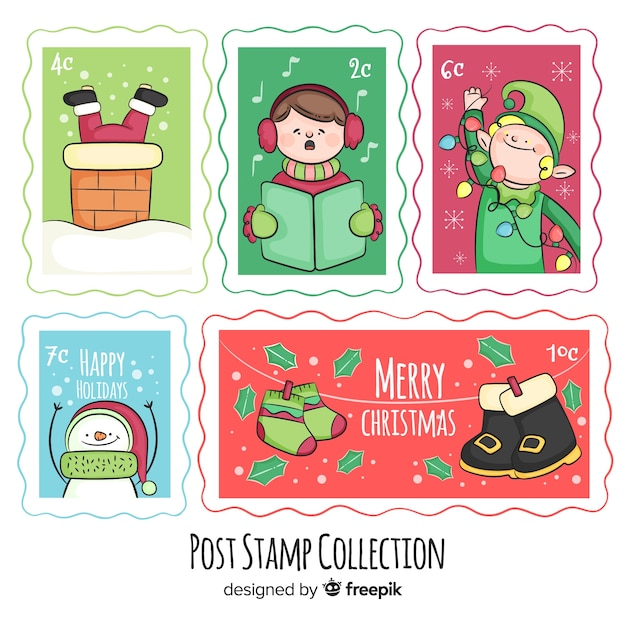 Collection de timbres postaux de noël Vecteur gratuit