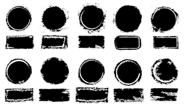 Collection de timbres poste grunge, cercles Vecteur Premium