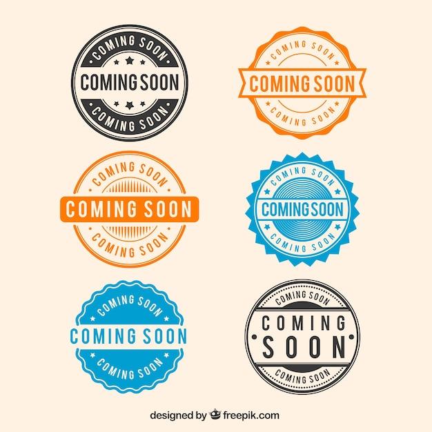 Collection de timbres six round à venir prochainement Vecteur gratuit