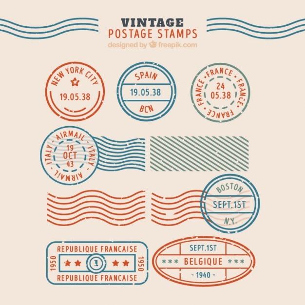 Collection de timbres vintage Vecteur gratuit
