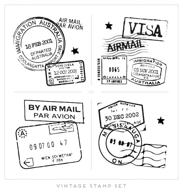 Collection De Timbres De Visa Noir Vecteur gratuit