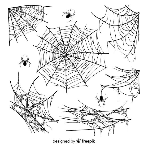 Collection De Toile D'araignée Dessiné à La Main Vecteur gratuit