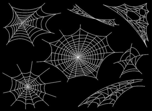 Collection de toile d'araignée, isolée. toile d'araignée pour la conception de halloween fantasmagorique, effrayant, horreur halloween Vecteur Premium