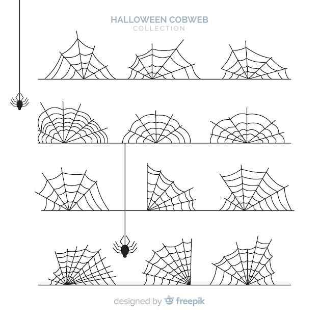 Collection de toiles d'araignée d'halloween Vecteur gratuit
