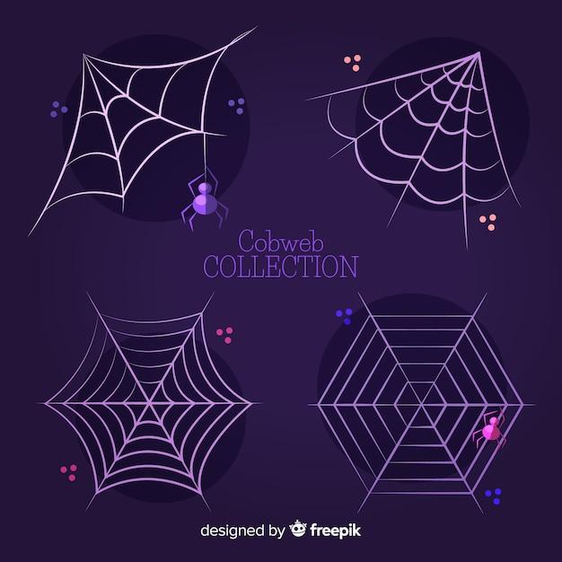 Collection De Toiles D'araignées D'halloween Vecteur gratuit