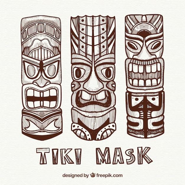Collection traditionnelle de masques tiki Vecteur gratuit