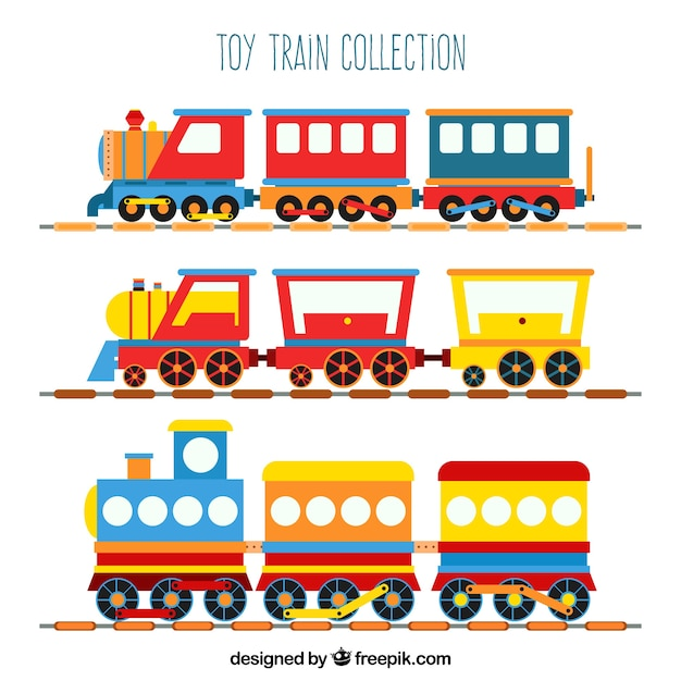 Collection de train à jouets Vecteur gratuit