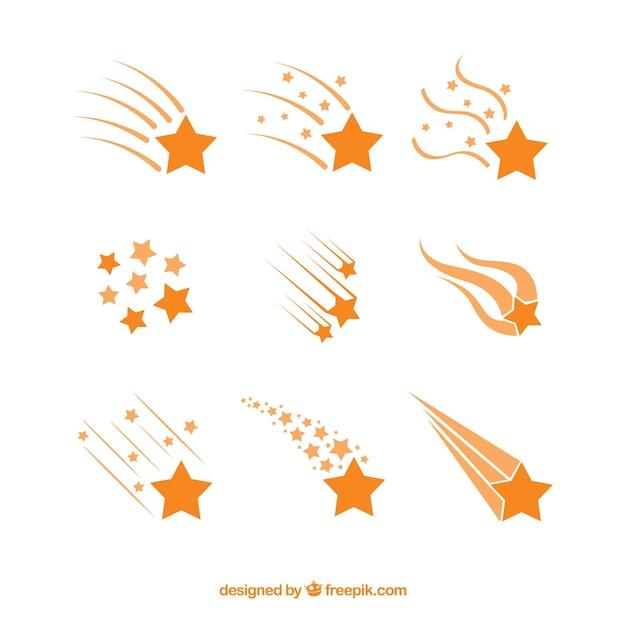 Collection de traînées d'étoiles orange Vecteur gratuit