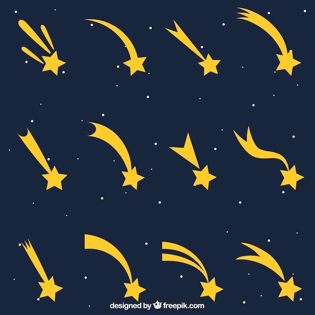 Collection de traînées d'étoiles Vecteur gratuit