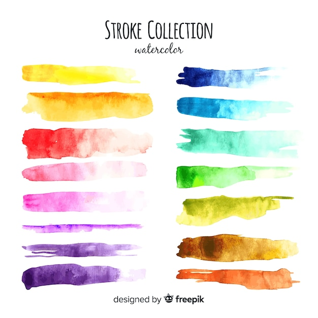 Collection de traits aquarelle colorée Vecteur gratuit