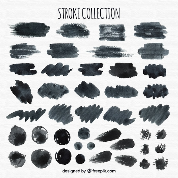Collection De Traits Aquarelle En Couleur Noire Vecteur gratuit