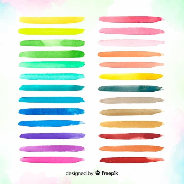 Collection de traits de pinceau aquarelle coloré Vecteur gratuit