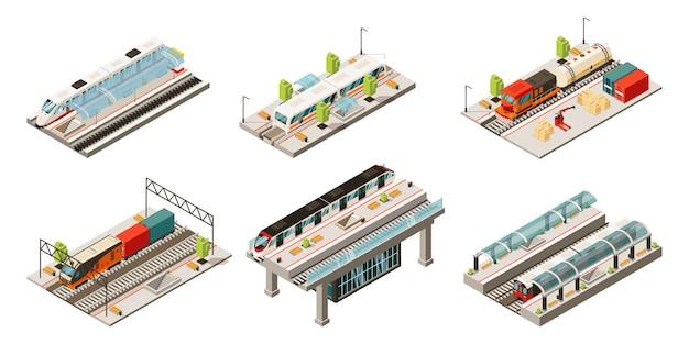 Collection De Transport Ferroviaire Moderne Isométrique Avec Trains De Marchandises Et De Passagers De Locomotive Isolés Vecteur gratuit