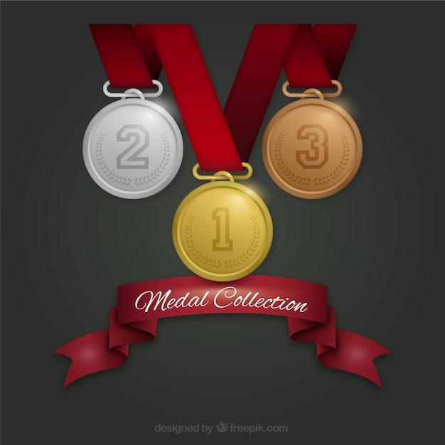 Collection de trois médailles pour les anciens combattants jour Vecteur gratuit
