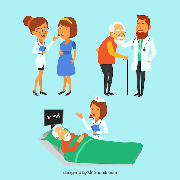 Collection de trois médecins avec des patients Vecteur gratuit