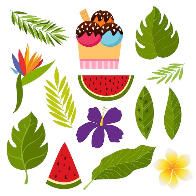 Collection tropicale avec des fleurs et des feuilles exotiques. Vecteur Premium