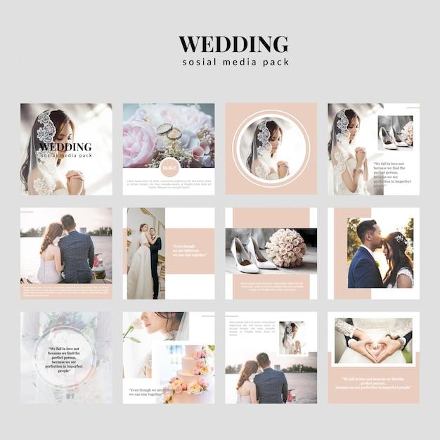 Collection de trousses médiatiques de mariage Vecteur Premium