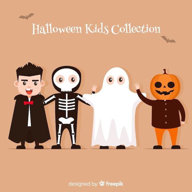 Collection de types halloween au design plat Vecteur gratuit