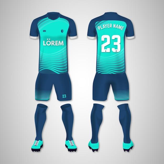 Collection D'uniformes De Football Avant Et Arrière Vecteur Premium