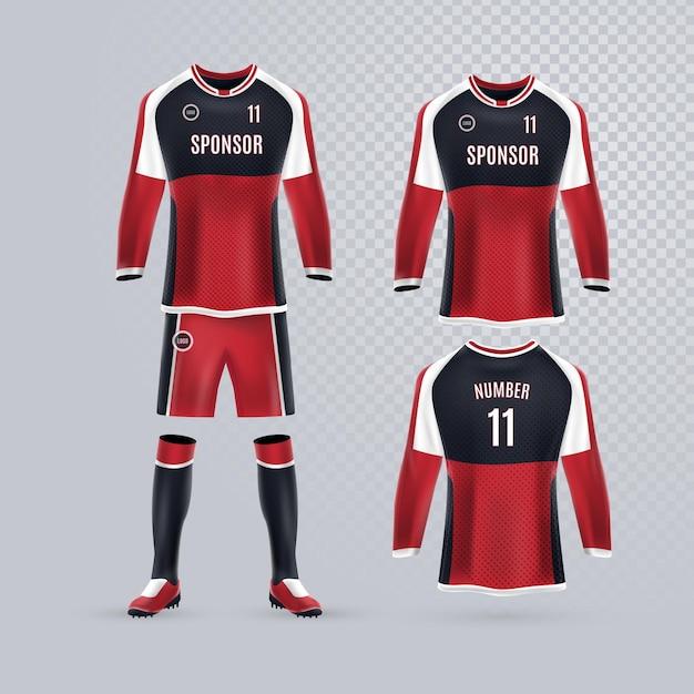 Collection D'uniformes De Football Vecteur gratuit