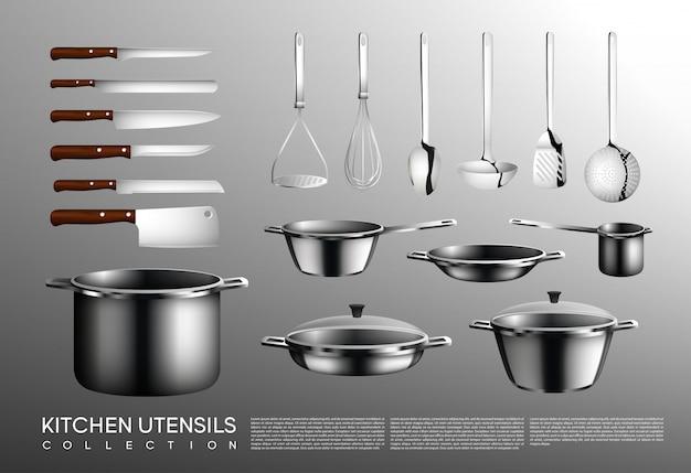 Collection D'ustensiles De Cuisine Réaliste Vecteur Premium