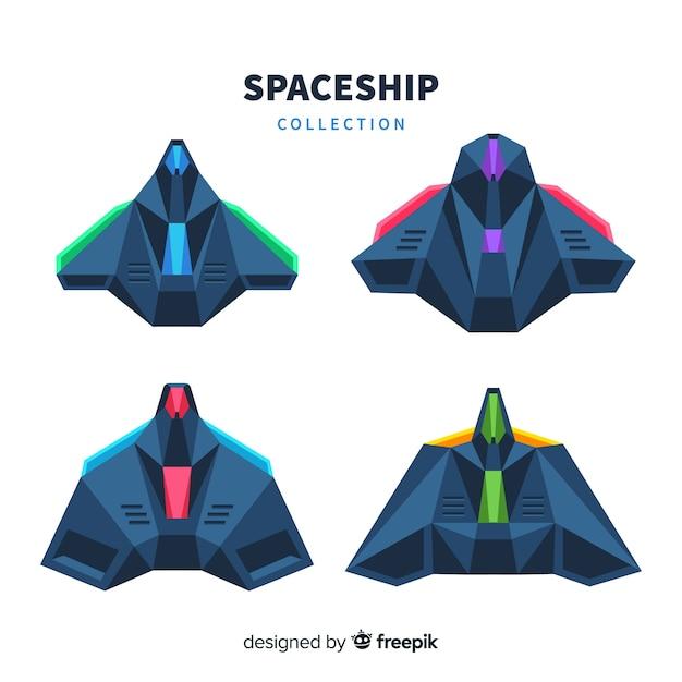 Collection de vaisseau spatial moderne au design plat Vecteur gratuit