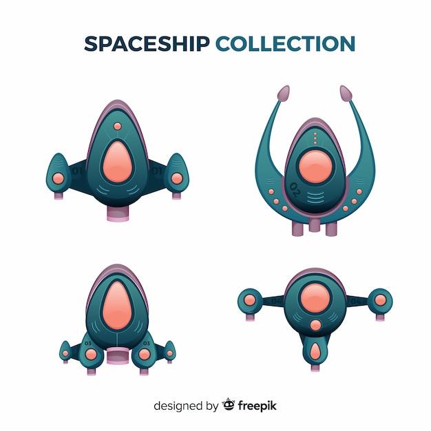 Collection de vaisseaux spatiaux colorés avec un design plat Vecteur gratuit