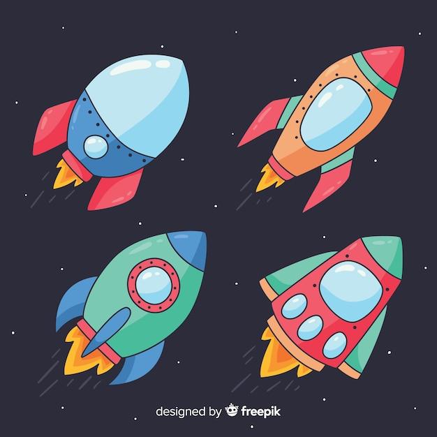 Collection de vaisseaux spatiaux dessinés à la main colorée Vecteur gratuit
