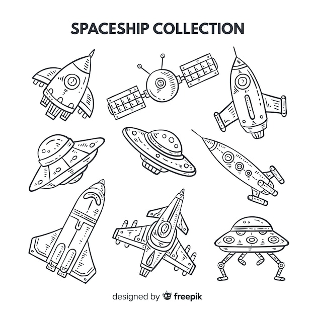 Collection de vaisseaux spatiaux linéaires Vecteur gratuit