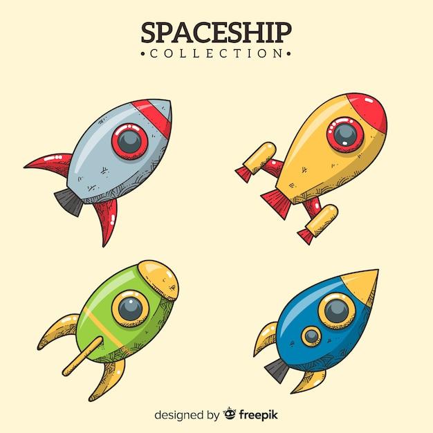 Collection de vaisseaux spatiaux modernes dessinés à la main Vecteur gratuit
