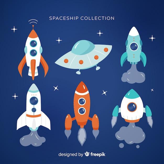 Collection de vaisseaux spatiaux Vecteur gratuit