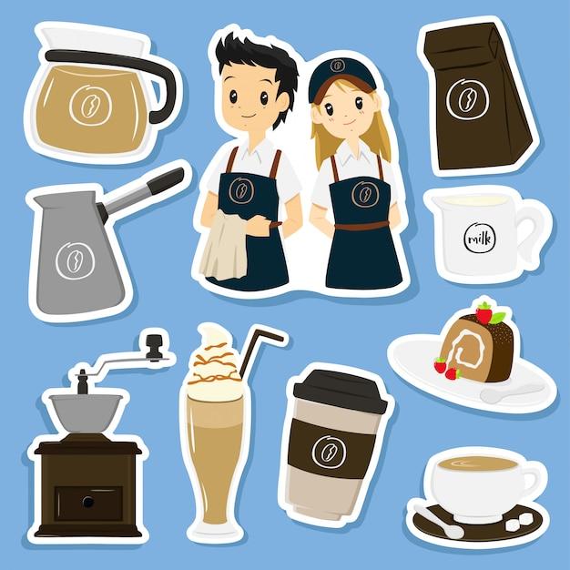 Collection de vecteur autocollants café Vecteur Premium