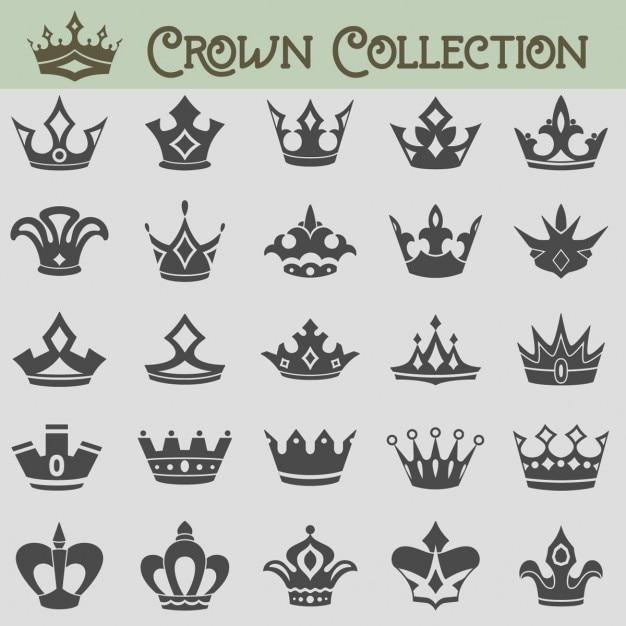 collection Vecteur de silhouettes de la couronne Vecteur gratuit