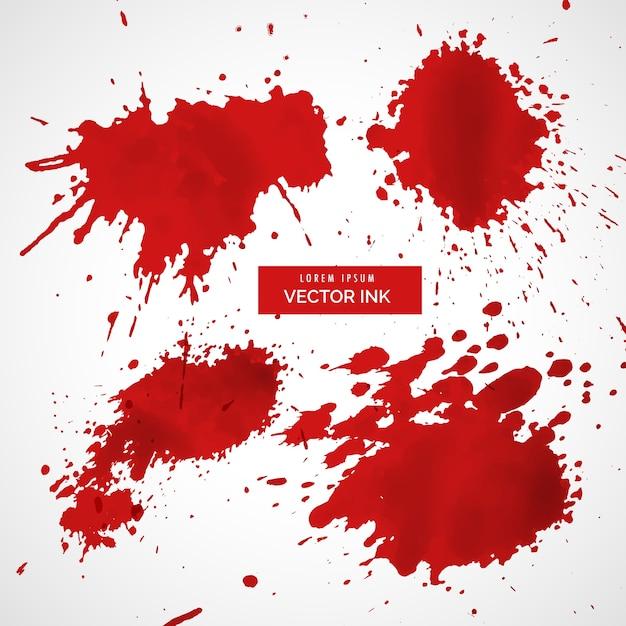 Collection De Vecteur D'éclaboussures D'encre Rouge Vecteur gratuit