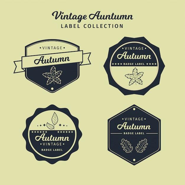 Collection de vecteur étiquette automne vintage Vecteur Premium