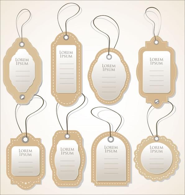 Collection de vecteur papier étiquette de prix style vintage rétro design Vecteur Premium