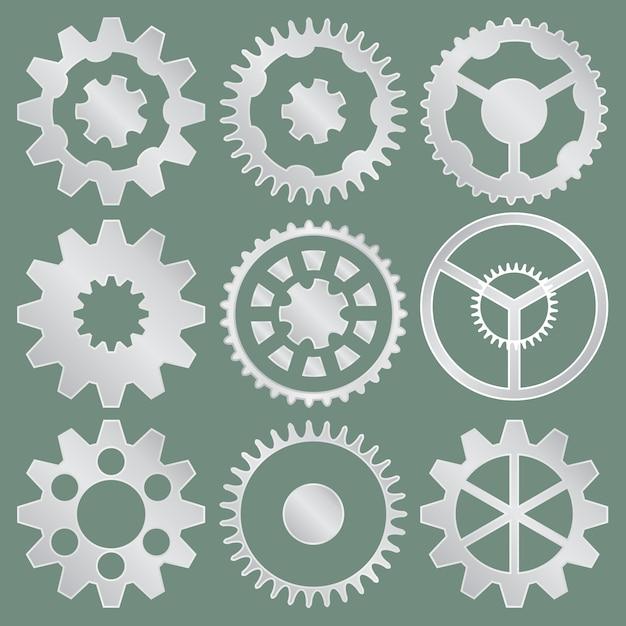 Collection de vecteur de pignons en aluminium Vecteur Premium