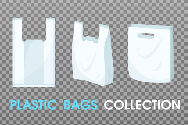 Collection de vecteur de sacs en plastique. Vecteur Premium