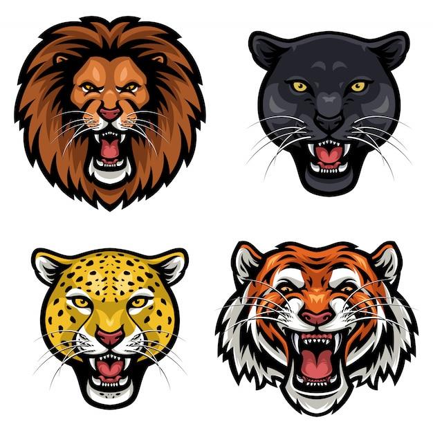 Collection de vecteur de visage en colère d'animaux sauvages Vecteur Premium