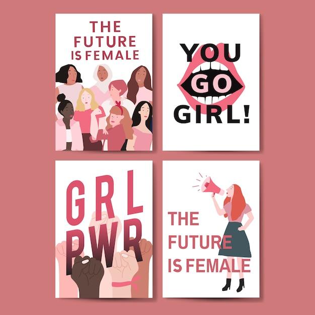 Collection de vecteurs affiches de messages féministes Vecteur gratuit
