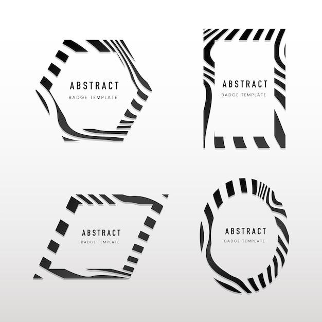 Collection de vecteurs de badge abstrait noir et blanc Vecteur gratuit