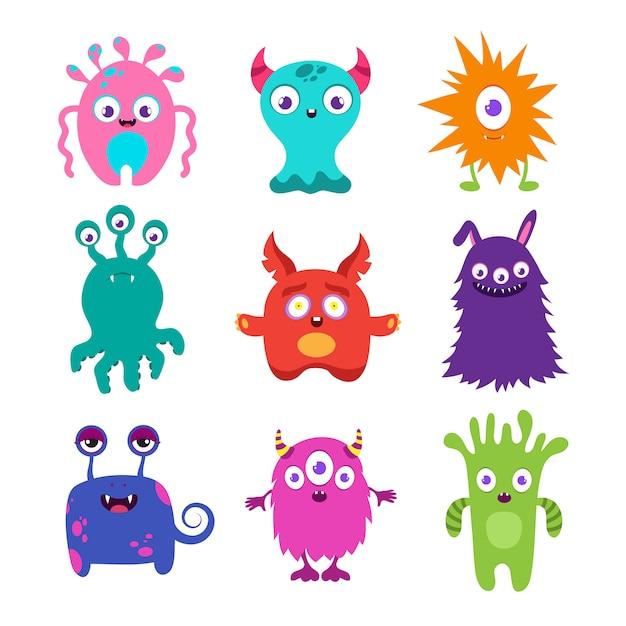 Collection de vecteurs de dessin animé mignon bébé monstres Vecteur Premium