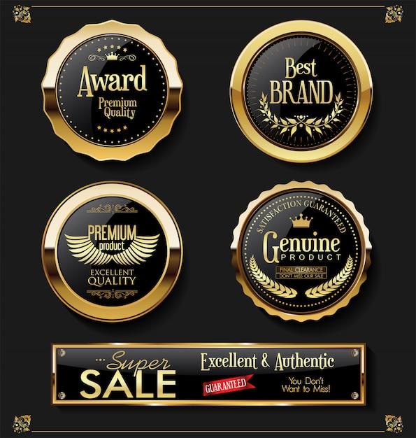 Collection de vecteurs étiquettes vintage rétro super vente Vecteur Premium